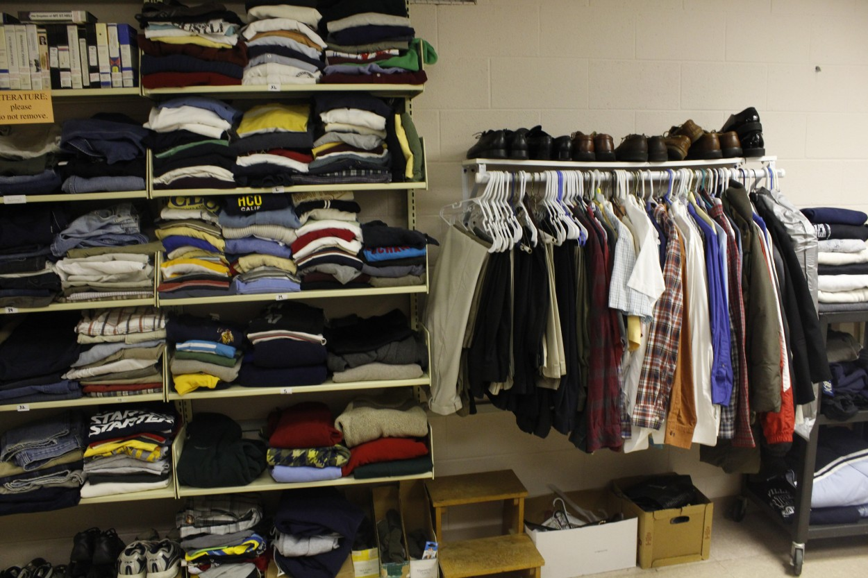 Faculty collect clothing and shoes for students in need. Photo Courtesy of Ari Sen.
